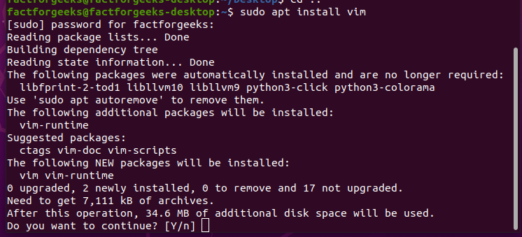Install Vim to edit files on linux